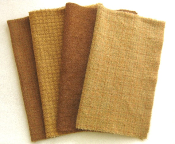 """Hand dyed felted wool in a combination of four butterscotch and gingersnap tones measuring 15"""" x 6"""""""
