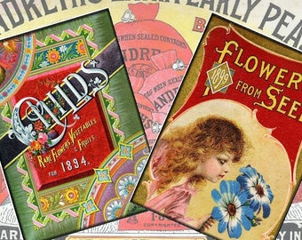 Vintage Garden Advertisments 3x5 Set of 8 Tags Digital Collage Sheet ATC ACEO greeting cards paper supplies - U Print 300dpi jpg