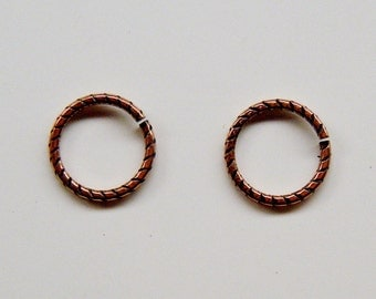 10 Etched Jumpring by Trinity Brass 12mm Open Jump Ring JR107AC Ant Copper