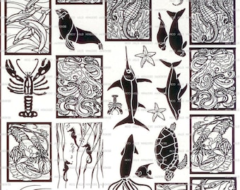 34 Under The Sea Sepia Decals for Image Transfer Onto Glass (08AQUA34) CLEARANCE SALE