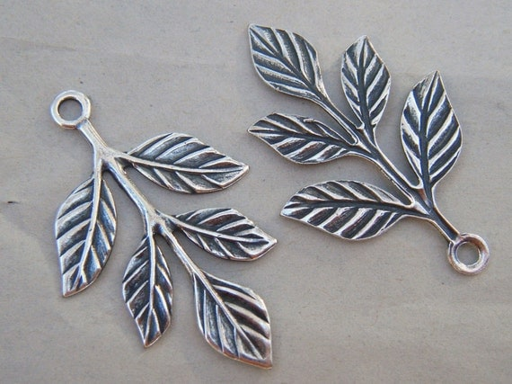 Leafy Branch Charms Antiqued Silver 2 Charms CLEARANCE