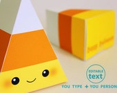 Halloween Candy Corn Printable Favor Box for Party or Birthday Editable Text Printable PDF 1063