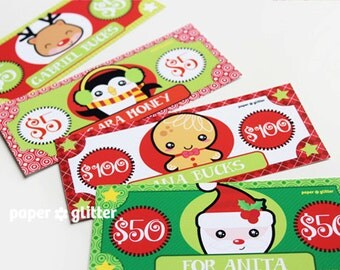 Christmas Holiday Gift Hang Tag, Money, Gift Certificate Printable Paper Toy - Editable Text PDF
