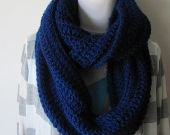 Chunky Eternity Scarf Oversized Chunky Cowl Snood Knitted Infinity Scarf Handmade Womens Fashion Accessories Bold blue or Choose Color