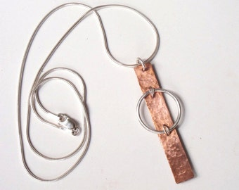 Modern Abstract Pendant, Silver and Copper Minimalist, Contemporary