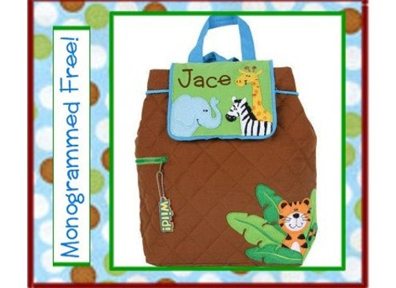 Personalized Toddler JUNGLE/ ZOO Quilted Backpack- Preschool/ Day Care/ Book Bag