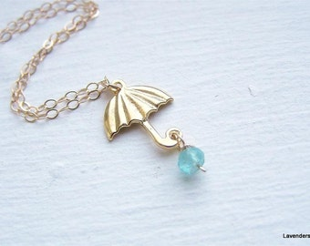 Umbrella  Necklace , Gold Umbrella  Charm , Apatite , Gold Fill , Modern Gold Necklace , Everyday Jewelry