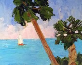 Original Painting Impressionist Art Seascape FLORIDA SAILING & PALMS Free Shipping Lynne French