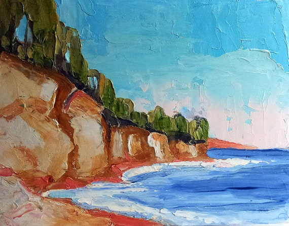 Impressionist Plein Air Landscape California PACIFIC CLIFFS Lynne French Oil Art 8x10 Original Painting