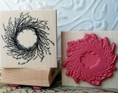 Rustic Wreath rubber stamp from oldislandstamps