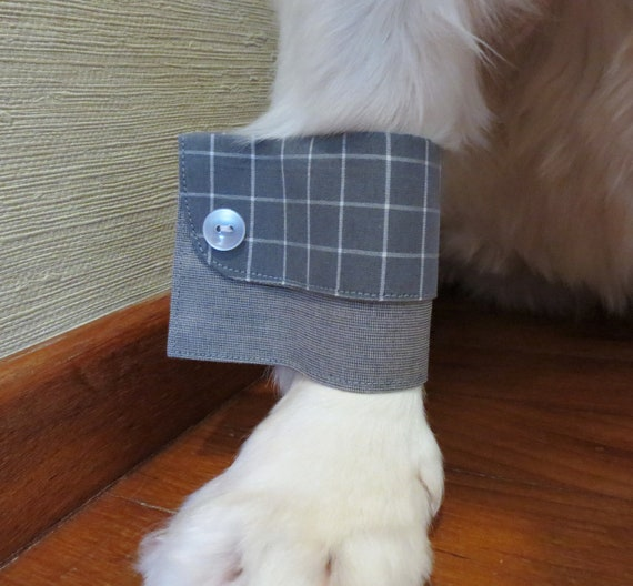Grey Check Dog Shirt Cuffs - The Executive Look - Matching Collar and Ties Available