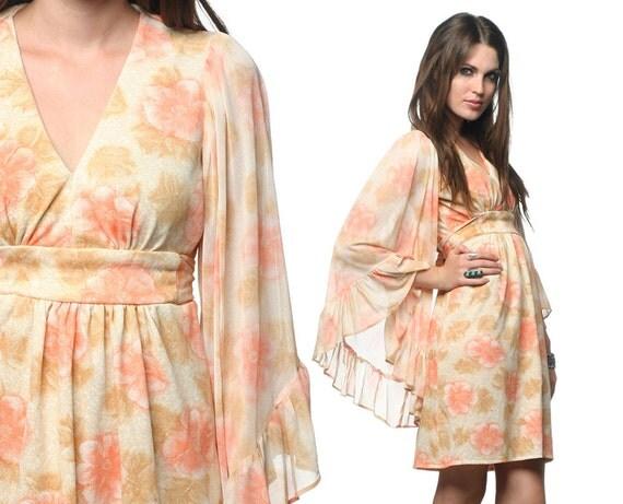 Bohemian Dress 70s Angel Sleeve Sheer Floral Peach Hippie Mini 1970s Boho Festival Bell Empire Deep V Retro Vintage Medium Large M L