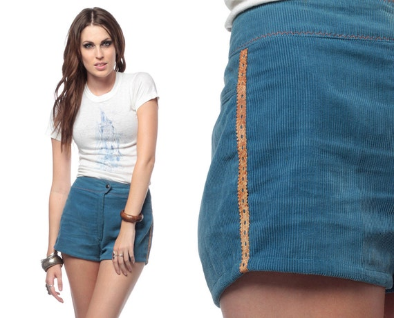 70s Corduroy Shorts High Waisted Blue 1970s Vintage Indie Hipster Retro Leather Trim Seventies Hippie Vtg Shorts Small S