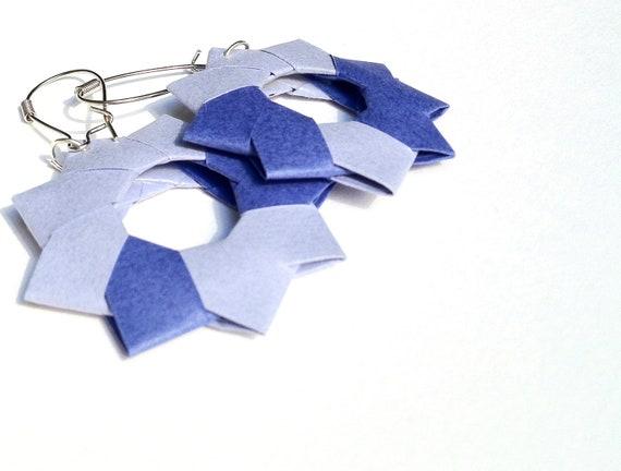 Light and Dark Blue Paper Origami Earrings by Rachel Smith of senslessart 103A