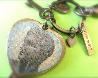 Greek Money Collage Embellished Nine West Key Ring Dangling Art