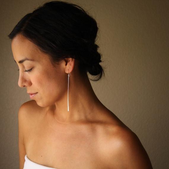 "Long sterling silver dangle earrings, organic whimsical stem-like hammered design with visible marks - ""Stems Earrings"""
