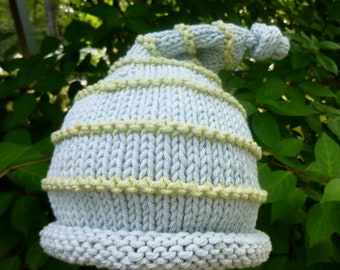 So Cute Hand Knit Baby Boy Hat Pale Blue