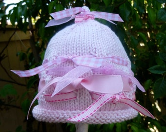 Precious Hand Knit Baby Girl Hat - Pink With Many Ribbons - Infant Girl Hat - Baby Shower Gift - New Baby Girl Gift - Special Photo -Newborn