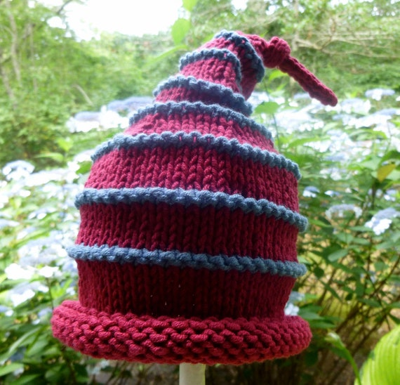 So Cute Hand Knit Baby Hat - Red With Blue Stripes - Baby Shower Gift - Baby Boy Gift - Baby Photo - New Baby Boy Gift - Hand Made Gift