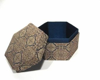Vintage Fabric Box Geometric Pattern Hexagon Asian Decor
