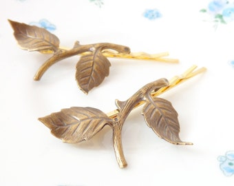Leaf Branch Bobby Pin Set - Woodland Collection - Whimsical - Nature - Bridal - Gold