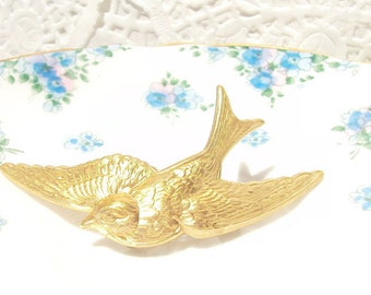 Gold Sparrow Hair Barrette - Whimsy - Whimsical - Woodland - Bridal