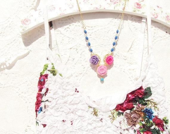 Secret Garden - Vintage Beaded Flower Necklace 16k Gold Plated