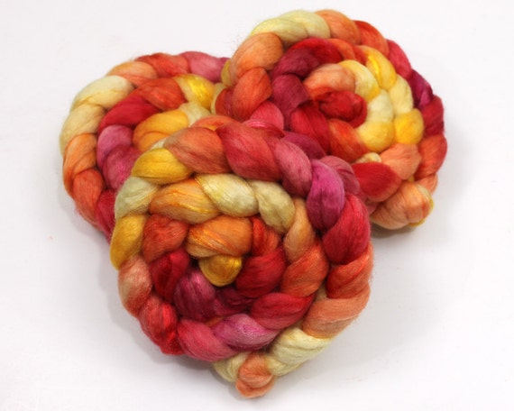 BFL Wool/ Sparkle Roving - Handpainted Roving for Spinning or Felting