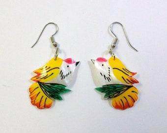 Vintage Tropical Bird Earrings Mother of Pearl DEADSTOCK