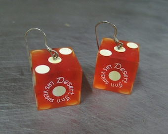 SALE Vintage Desert Inn Red Casino Dice Earrings 3/4 inch