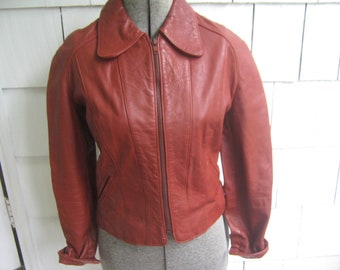 Vintage Leather Jacket Rust Brown Mod 70s