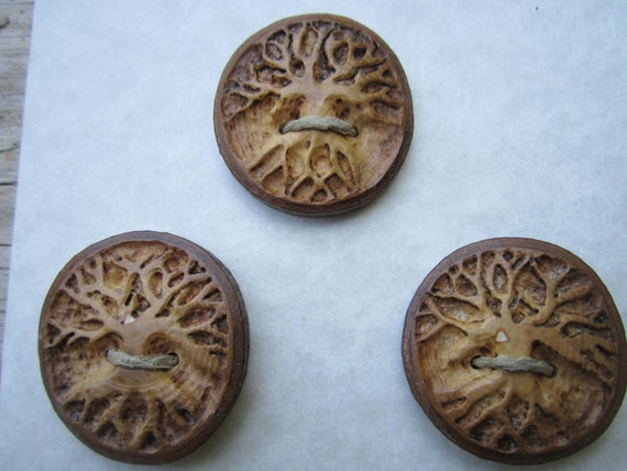 3 Tree Buttons- Carved in Reclaimed Hickory Wood- Knitting, Sewing, Craft Buttons
