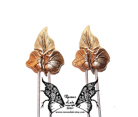 Ravenslair Original, Golden Leaves of Lothlorien Amish Hair Pins
