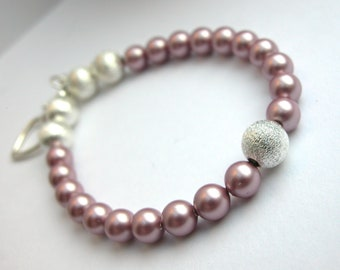 Dusky Rose Pink pearl and silver bracelet
