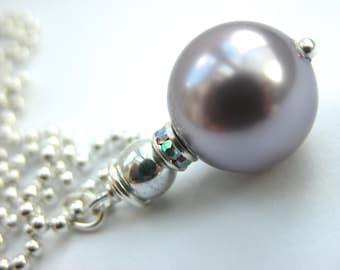 Deep Mauve Swarovski crystal pearl and rhinestone pendant