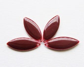 Metal & Epoxy Solid Marquise Drops - Silver Plated Burgundy (4 drops) - spa369