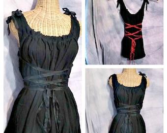 Black Corset Dress Knee, Midi or Maxi Dress Renaissance Faire Pirate Gothic Custom