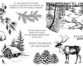 Artistic Outpost - Winter Holiday Rubber Stamp Collection - vintage etching - pine trees reindeer