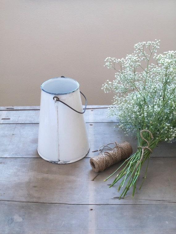 antique french enamel milk jug