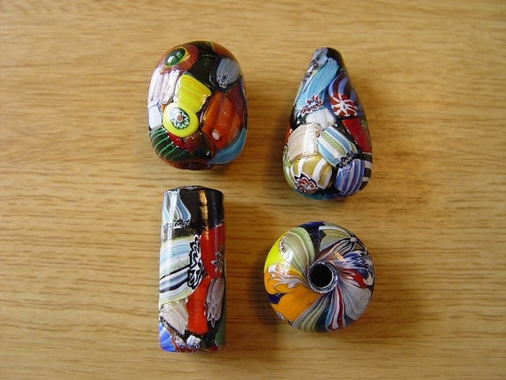 India Millefiori Glass Lampwork Beads Large 20mm Plus Mixed Shapes MF8 Lot of 4