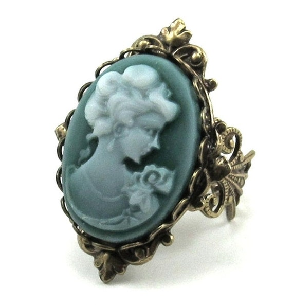 GORGEOUS Neo Victorian Cameo Ring in a Dark Emerald Wash with Antiqued Brass Filigree Ring Band - By Ghostlove