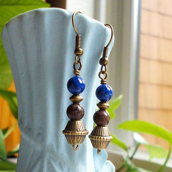 Blue Lapis and Brown Jasper Earrings, Semi Precious Gemstone, Antiqued Brass