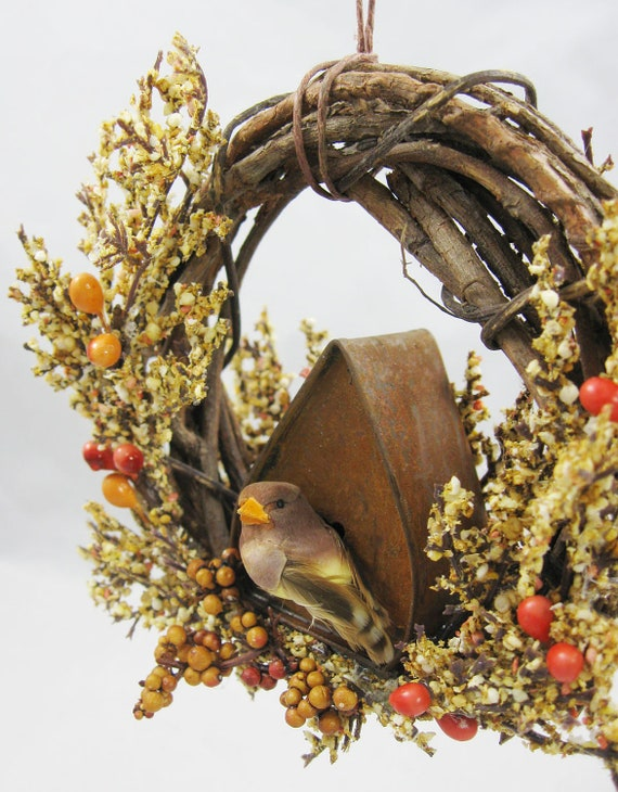 Bird with an A-Frame Birdhouse Christmas Ornament 614