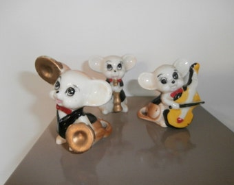 Mice Figurines -Musical Mice Figurines -Holding Musical Instruments Band Mice
