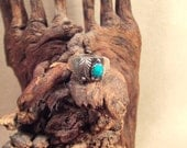Turquoise ring native american indian sterling silver  size 81/2- 111/2-12-121/2 light patina SALE FREE SHIPPING