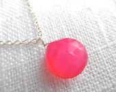 Bright pink chalcedony necklace - Pink chalcedony - bright pink necklace - sterling silver necklace- A M E L I A 200