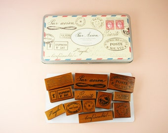 Par Avion mail rubber stamp set