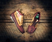 Handcrafted HIGHTOP Leather Boat Shoes - Maroon, Tan & Patent Victorian Rose Print w/ Etched Pistols - MADE to ORDER