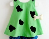 Baby and Toddler Green Pebbles Flintstone Costume - 3 Piece Set