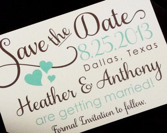 Save the Date Postcards - Elegant and Pretty Save the Date Cards, Script, Hearts Save the Date Cards